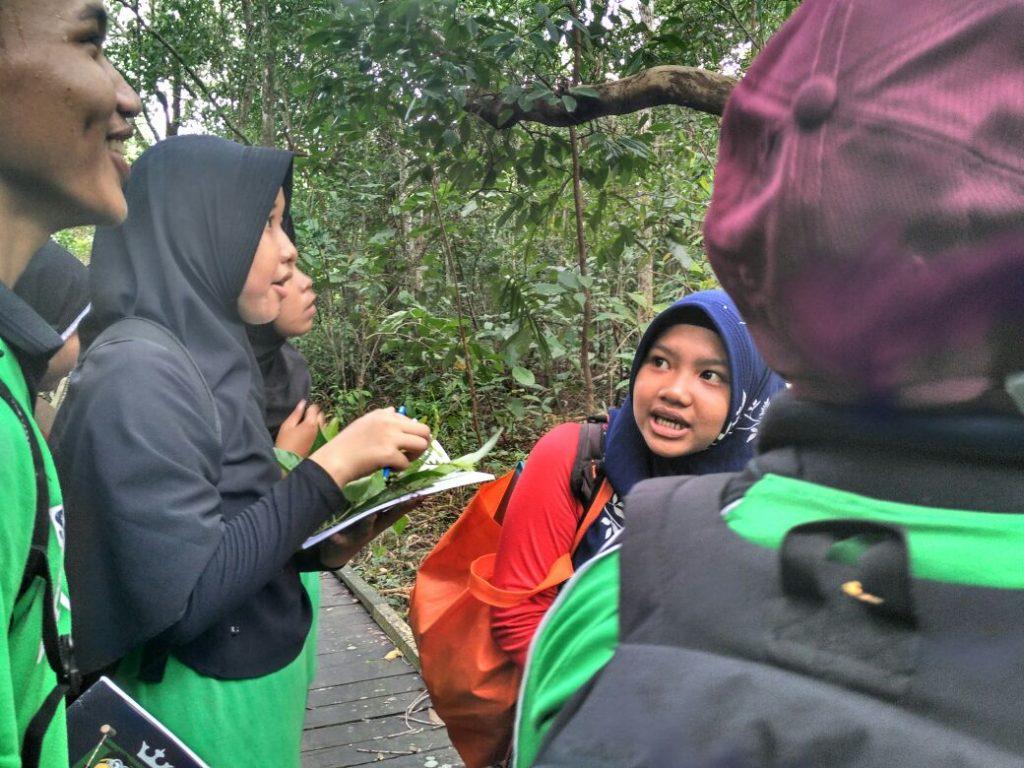 Siswa-siswi sedang belajar mengidentifikasi daun (foto : MONGA/Pit)