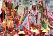 Parade tatung disepanjang Jalan Diponegoro kota Singkawang pada gelaran Cap Go Meh 2019 di Singkawang, Kalimantan Barat, Selasa (19/2/2019). Lebih dari 860 tatung beratraksi pada perayaan Cap Go Meh di Singkawang. (Foto : IST / Tribunnews)